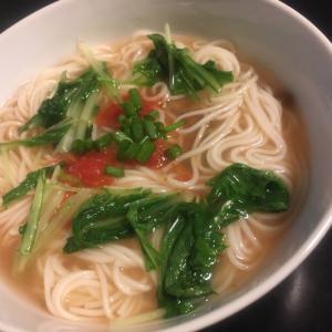 水菜とトマトのにゅう麺