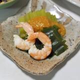 【青じそ】ふきとわかめとエビの酢味噌