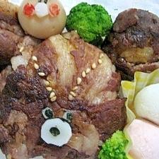 キムパ味の肉巻き おにぎり♪
