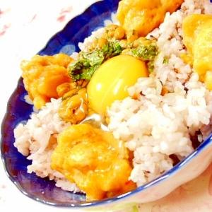 ❤鶏唐揚げと大葉のめんつゆマヨネーズ丼❤