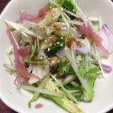 ミョウガの漬物deキュウリと水菜のサラダ