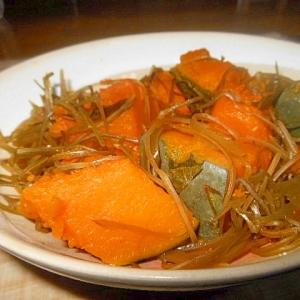 冷凍かぼちゃと刻み昆布のめんつゆ煮