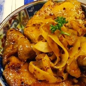 豚ロースレンコンのラー油花椒焼き