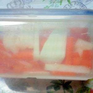 硬い野菜の短冊切り方法(にんじんと大根を使用)