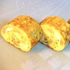 チャーシューと葱入りの卵焼き