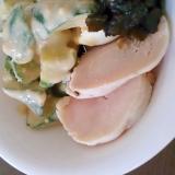 鶏ハムと昆布の佃煮ときゅうりのニンニクマヨ和え
