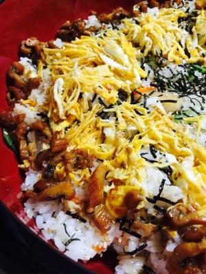 パーティに!生姜と刻み鰻の大皿ちらし寿司!