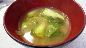 ツルムラサキの味噌汁