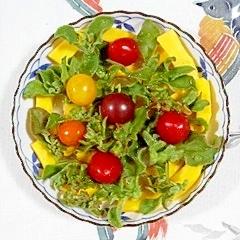 コリンキーとアイスプラントのサラダ