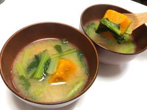 かぼちゃと小松菜の味噌汁/やる気★★★