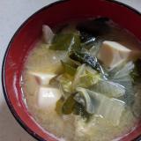 白菜、大根、ワカメ、豆腐のお味噌汁