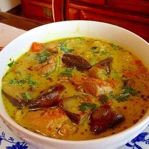 冷蔵庫の野菜でタイカレーみたいなスープ