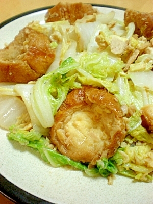 仙台麩と白菜・ツナのたまご炒め。(中華味)