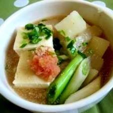 豆腐とかぶのたらこスープ
