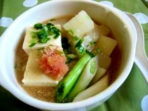 豆腐と蕪のほっこりたらこスープ