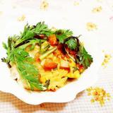 ターメリック風味♪春菊と高野豆腐の卵とじ