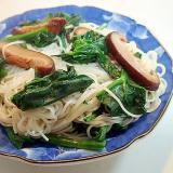 ほうれん草と椎茸の素麺チャンプルー