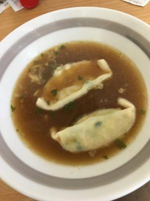 カップラーメンのスープで!餃子スープ