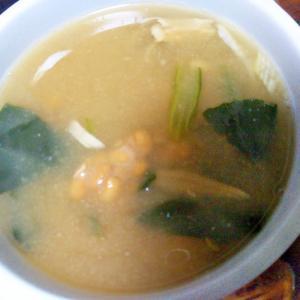 納豆&ほうれん草&舞茸の味噌汁