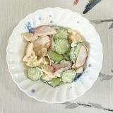 サラダチキン、胡瓜、ラディッシュのマヨネーズ和え