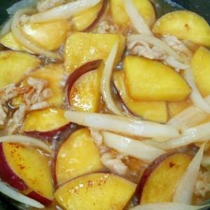 簡単おつまみ♪豚バラ肉とさつまいもと玉ねぎの炒め煮