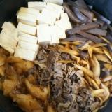 大根とごぼうとこんにゃくと豆腐のすき焼き