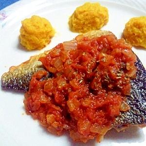 塩サバのトマトソース煮
