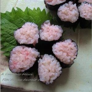 今年も桜が咲きました~桜の花の飾り巻き寿司♪
