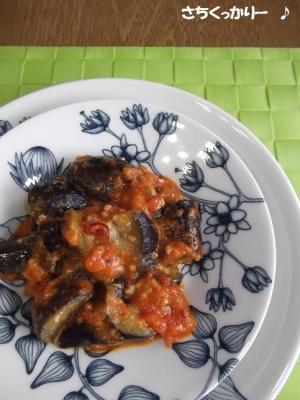 1行レシピ★茄子とオリーブの辛いトマト炒め