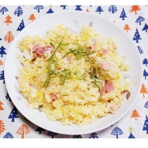 新玉葱とハムと玉子の味噌炒飯