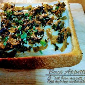 チーズでマイルドに♪高菜漬けトースト(熊本産)