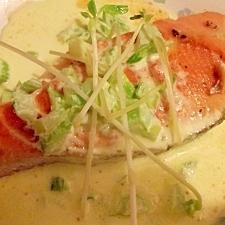 ブルーチーズ・ソースで食べるサーモンソテー