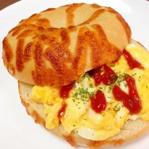 朝食に☆スクランブルエッグのベーグルサンド