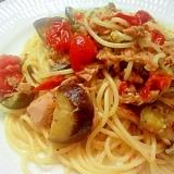 プチトマトとナスとシーチキンの激うまスパゲッティ♪