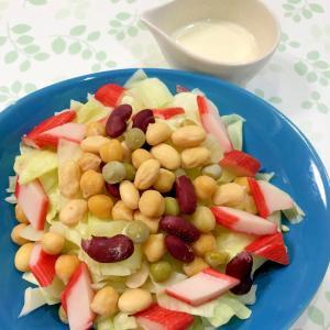 サラダ豆とカニカマサラダ☆辛マヨドレッシング