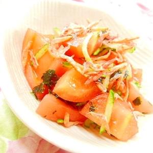 ❤胡瓜とトマトと韓国海苔の胡麻ラー油和え❤