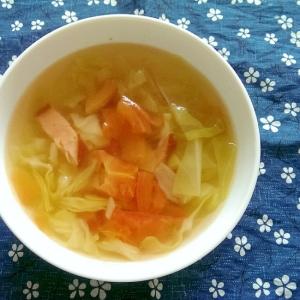ソーセージとキャベツとトマトのスープ