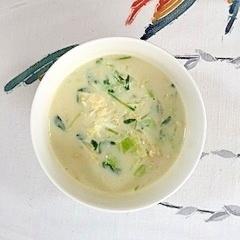キャベツと豆苗の豆乳スープ