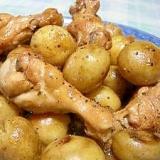 丸々新じゃがと鶏手羽元の煮物(圧力鍋で)