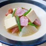 ポークローフと大根と高野豆腐の煮物
