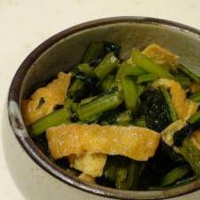 かぶの葉と油揚げの甘辛炒め