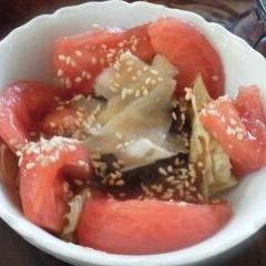 トマトとレタスもずくの和風サラダ