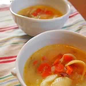 パスタ入り★ベーコンと白菜のミルクスープ