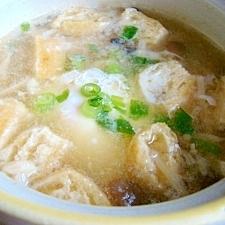 土鍋で卵味噌汁
