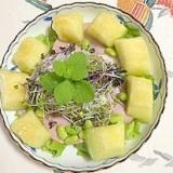 ロースハム、メロンのサラダ