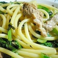 豚と小松菜のにんにく醤油スパゲティ