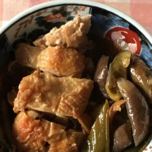 なす、鶏もも肉、ネギの味ぽん煮