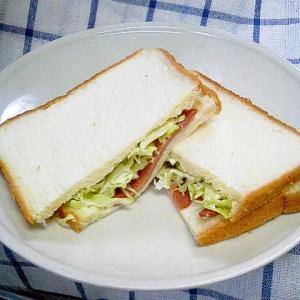 炙り焼豚と千切りキャベツのサンドイッチ