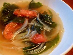 わかめとトマトの韓国風スープ