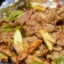 牛肉と椎茸の味噌焼き